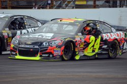 Jeff Gordon on victory lap after fifth win
