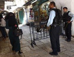 Muslim Woman Passes Israeli Police Old City Jerusalem