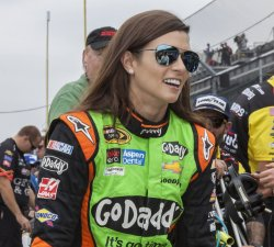 Danica Patrick talks with fans before Sprint Cup qualifying