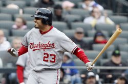 Washington Nationals Wil Nieves reacts after striking out at Citi Field in New York