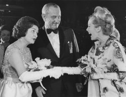 President and Mrs. Johnson are greeted by actress Sally Ann Howes during Inaugural Gala
