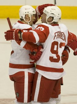 Red Wings Lidstrom Celebrates Game-Winning Goal Against the Avalanche in Denver