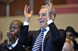 Emanuel cheers at inaugural ceremony in Chicago
