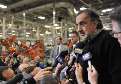 Chrysler Chairman and CEO Marchionne Talks to Reporters in Belvidere, Illinois