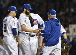 Cubs' pitcher Jake Arrieta is pulled from the game in the NLDS in Chicago