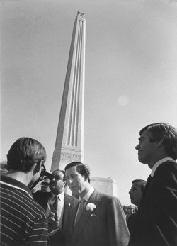 Prince Charles chats with tourists at the San Jacinto Monument to Texas' Freedom near Houston