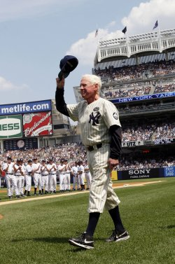 Whitey Ford of the Yankees 1950's team is introduced at Yankees Stadium in New York
