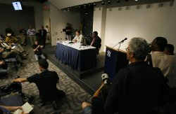 David Ortiz and Michael Weiner Press Conference at Yankee Stadium in New York