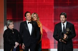 Jimmy Fallon, Kathy Bates and Steve Levitan attend the 64th Primetime Emmy Awards in Los Angeles