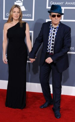 Elvis Costello and Diana Krall arrive at the 54th annual Grammy Awards in Los Angeles