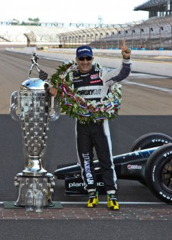 Tony Kanaan celebrates victory at the Indianapolis Motor Speedway