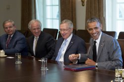 President Obama Meets With Members Of Congress On Foreign Policy