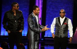 Doug E. Fresh, Tony Rock and Michael Bivins appear at the Soul Train Awards 2012 in Las Vegas