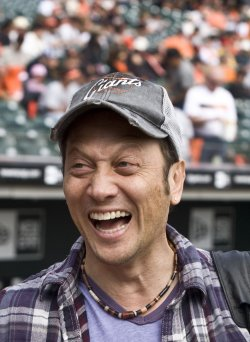 Comedian Rob Schneide cheers for the Giants in San Francisco