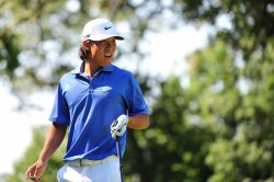 Anthony Kim watches his drive off of the 4th tee box during a practice round at the US Open in Maryland