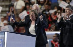 Mary Kay Henry of the Service Employees International Union speaks at the DNC convention in Philadelphia