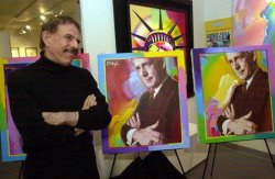 Peter Max paints Jack Buck