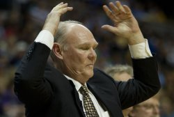 Nuggets Head Coach Karl Reacts During the NBA Western Conference Playoffs First Round Game Four in Denver