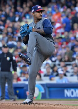 Team USA's Marcus Stroman winds up to deliver during World Baseball Classic final in Los Angeles