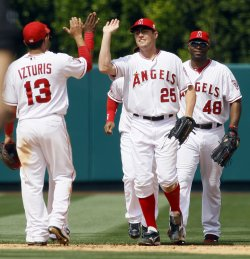 Los Angeles Angels vs Atlanta Braves in Anaheim, California, baseball