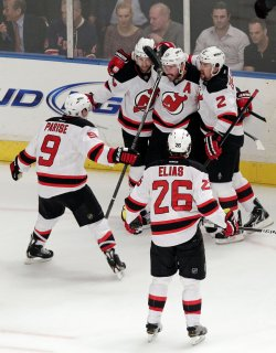 New Jersey Devils play the New York Rangers in the Eastern Conference Finals at Madison Square Garden in New York