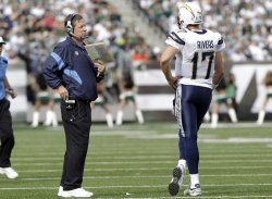 San Diego Chargers Norv Turner and Philip Rivers at MetLife Stadium in New Jersey