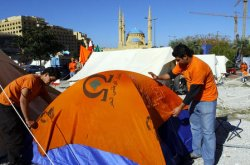 LEBANESE PROTESTERS SET UP TENT CITY