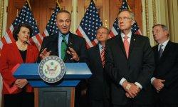 Democratic Senators speak to press on immigration reform in Washington