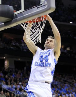 North Carolina Tar Heels Tyler Zeller dunks at the NCAA Final Four East Regional Round at the Prudential Center in New Jersey