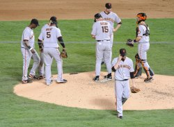 San Francisco Giants' starting pitcher Jonathan Sanchez leaves the game in the sixth inning