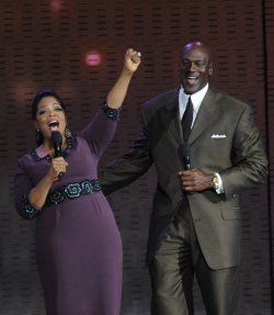 Oprah and Michael Jordan talk on the Oprah Winfrey Show in Chicago