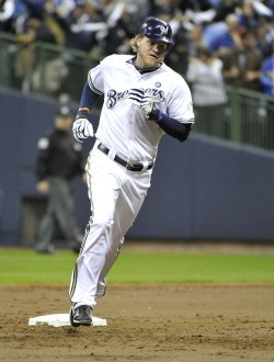 Brewers' Corey Hart connects for a homerun during game 6 of NLCS in Milwaukee, Wisconsin