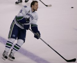 Canucks Ehrhoff warms up before game 6 of the Stanley Cup Finals in Boston, MA.