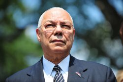 America's Promise Alliance founding chair Colin Powell and chair Alma Powel speak to the media in Washington