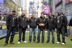 "Eddie George, Antonio Pierce, Bill Gramatica, Nick Lachey, Martin Gramatica and Rodney Peete at the ""Tostitos Fiesta in the Square"" in New York"