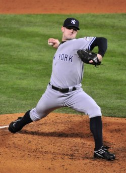 Yankees' David Robertson pitches during game 5 of the world series in Philadelphia