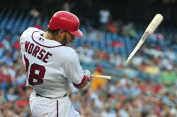 Nationals' Adam Morse breaks his bat in Washington