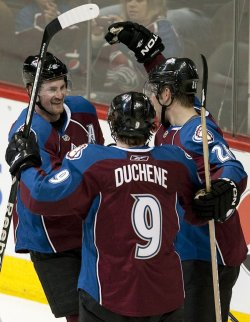 Avalanche Hejduk Celebrates Goal Against the Ducks in Denver