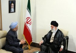 Indian Prime Minister Manmohan Singh meets with Iran's Supreme Leader Ayatollah Ali Khamenei in Tehran, Iran