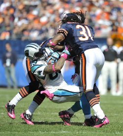 Bears' Meriweather hits Panthers Smith in Chicago