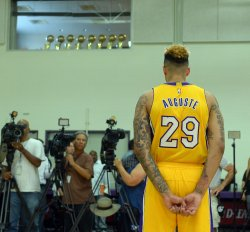 Zach Auguste participates in Lakers media day