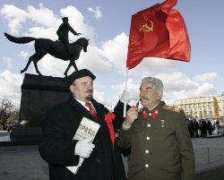 RUSSIAN COMMUNISTS MARK LENIN' S BIRTHDAY IN MOSCOW