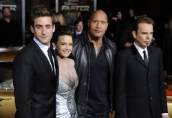 """Oliver Jackson-Cohen, Carla Gugino, Dwayne Johnson and Billy Bob Thornton attend the premiere of the film """"Faster"""" in Los Angeles"""