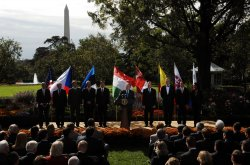 President Bush speaks about Visa Waiver program in Washington