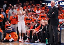 Syracuse Orange head coach Jim Boeheim at the NCAA Big East Men's Basketball Championships in New York