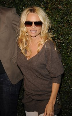 "Pamela Anderson attends the premiere of the video ""My Valentine"" in West Hollywood, California"