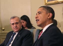 President Obama meets with Lebanese President Suleiman in Washington