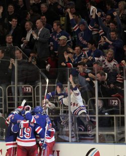 New York Rangers Brandon Dubinsky and Sean Avery at Madison Square Garden in New York