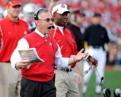 Ohio State head coach Jim Tressel yells during the Rose Bowl in Pasadena, California