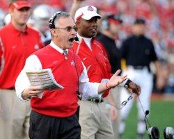 Ohio State head coach Jim Tressel yells during the Rose Bowl in Pasadena, California